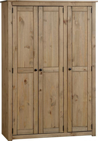 Panama 3 Door Wardrobe in Natural Wax