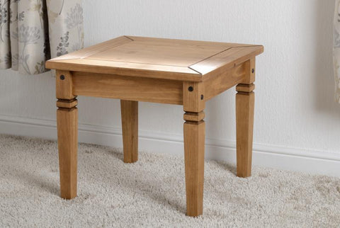 Salvador Lamp Table in Distressed Waxed Pine