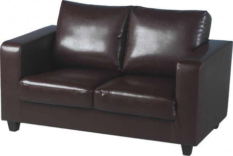Tempo Two Seater Sofa-in-a-Box in Brown Faux Leather