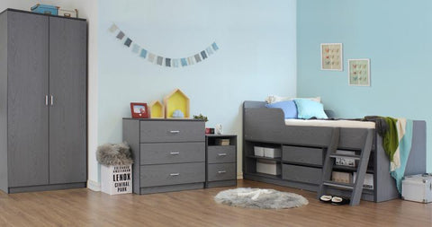 Felix Low Sleeper Kids Wooden Bed in Grey