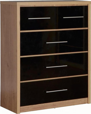 Seville 3+2 Chest of Drawers in Black High Gloss