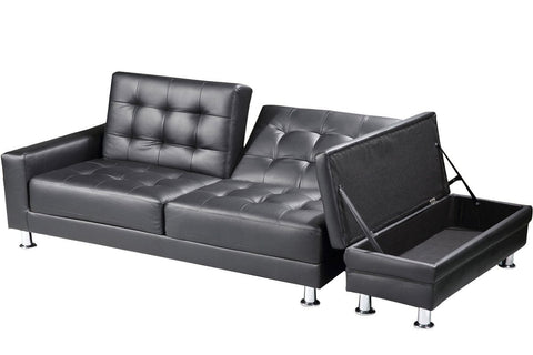 Faux Leather Sofa Bed With Ottoman Storage Bench - Black