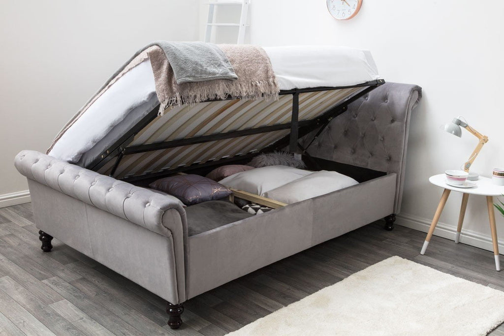 71ed5486ce82 Lambley Grey Velvet Ottoman Lift Up Storage Bed Frame - Double & King Size