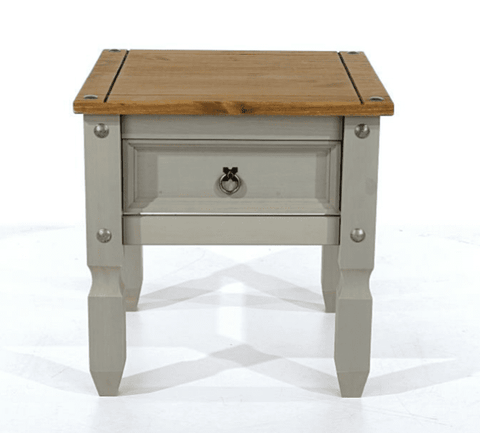 Corona Painted Grey 1 Drawer Lamp Table
