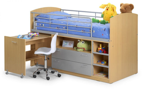 Leo Kids Mid Sleeper - Maple/Aluminium Finish