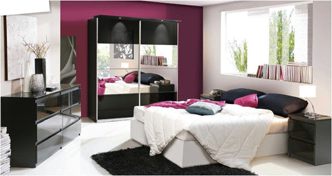 Wessex Glossy 2 Door Mirrored Sliding Wardrobe - White & Black