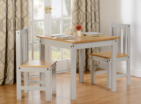 Ludlow Small Dining Table Set in Grey/Oak Lacquer (Table + 2 Chairs)