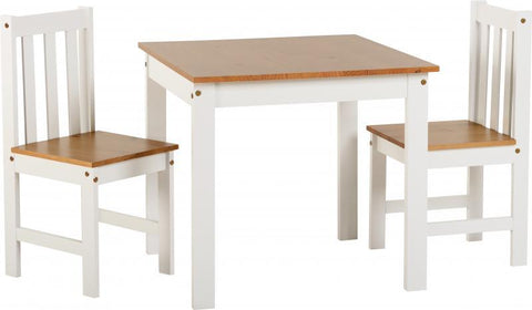 Ludlow Small Dining Table Set in White/Oak Lacquer (Table + 2 Chairs)