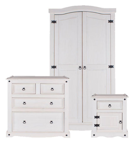 Corona White Washed Bedroom Bedroom Set - Wardrobe, Bedside & Chest