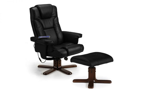 Malmo Leather Massage Recliner Chair & Stool - Black & Brown