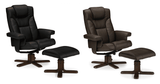 Malmo Leather Recliner Chair & Stool Set - Black & Brown