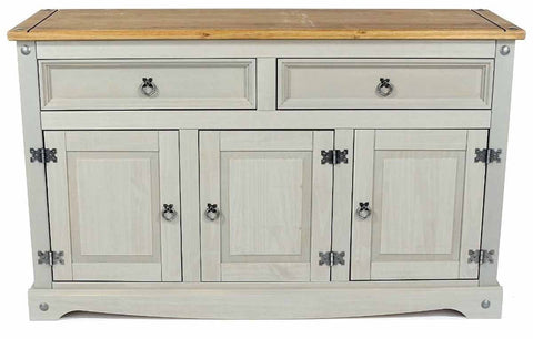 Corona Washed Grey 3 Door & 2 Drawer Sideboard