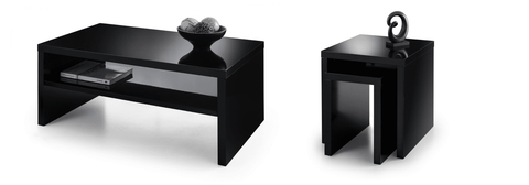 Metro High Gloss Coffee Table & Nest Of Tables Set - Black