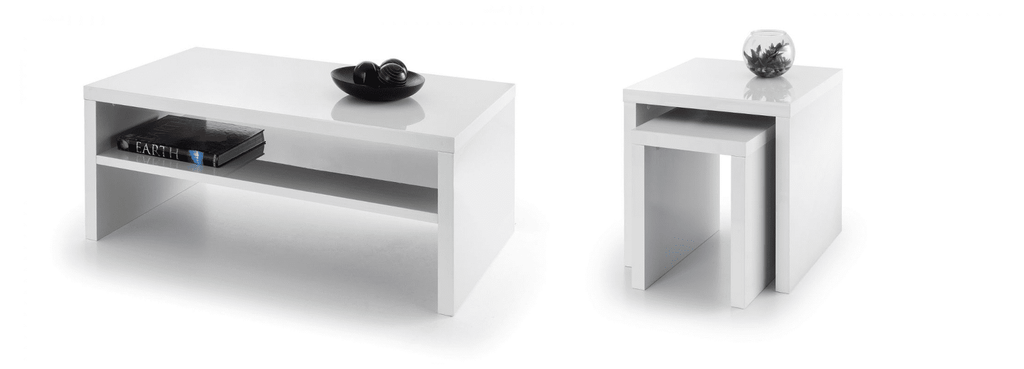Metro High Gloss Coffee Table Amp Nest Of Tables Set White