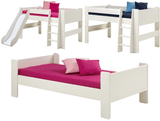 Steens Kids Beds - Mid-Sleeper, Mid-sleeper with Slide & Single - In White