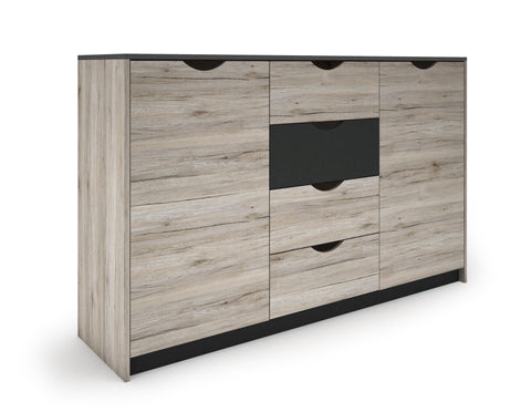 Mira Wide 2 Door 4 Drawer Sideboard Storage Chest In Sand Oak Effect
