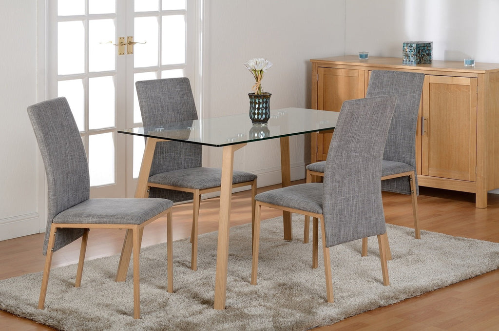 morton dining table set in clear glass table 4 chairs