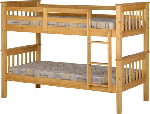 Neptune 3ft Single Wooden Bunk Bed in Pine