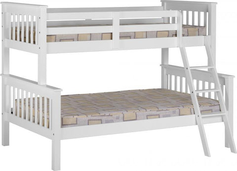 Neptune Triple Sleeper Wooden Bunk Bed In White