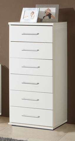 Nice 6 Drawers Slim Chest - Alpine White/Light Oak Effect