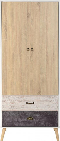 Nordic Scandinavian Style 2 Door 2 Drawer Wardrobe