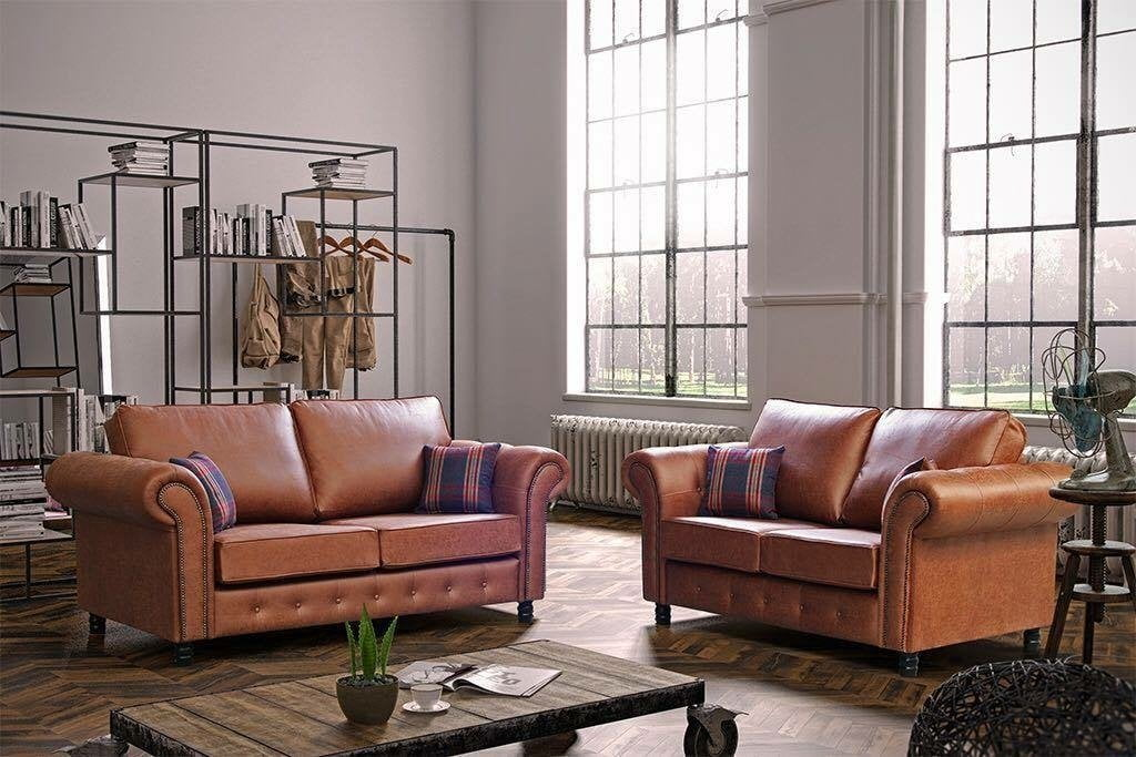 Oakland Faux Leather 3 2 Seater Sofa Set Tan Grey Or Black