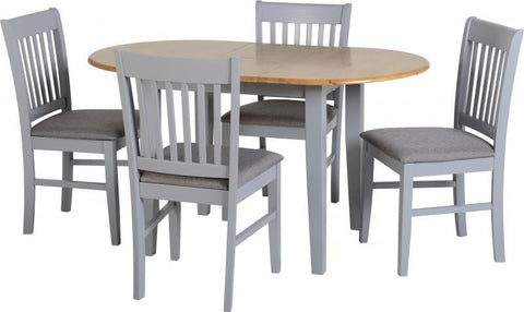 Oxford Oval Extending Dining Set in Painted Grey (Table + 4 Chairs)