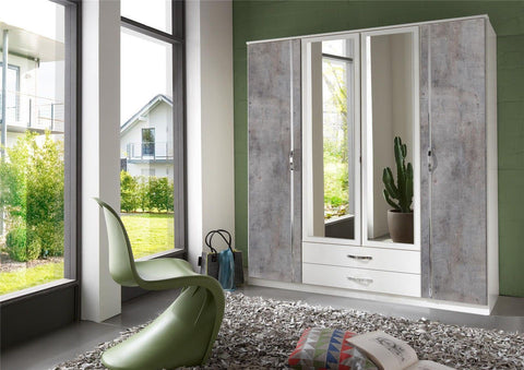 Concrete Grey and White Large 4 Door 2 Drawer Wardrobe