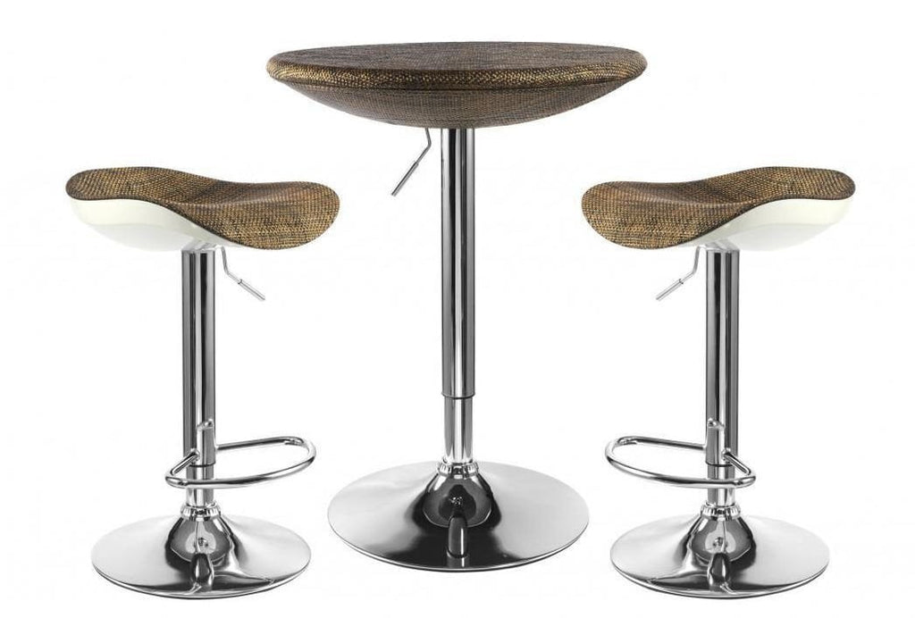 Contemporary Textilene Top Breakfast Bar Table Stool Set