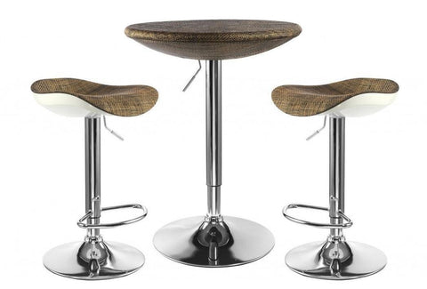 Contemporary Textilene Top Breakfast/Bar Table & Stool Set