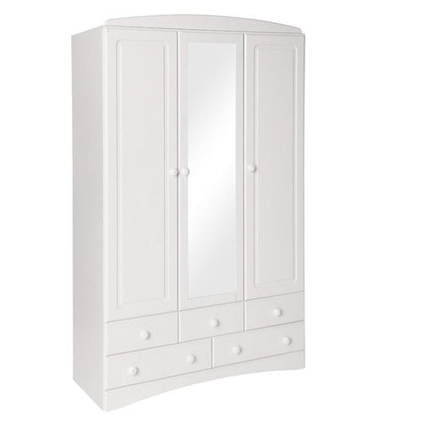 Scandi 3 Door 5 Drawer Wardrobe with Mirror in White