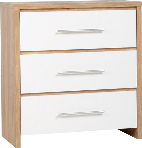Seville 3 Drawers Chest in White High Gloss