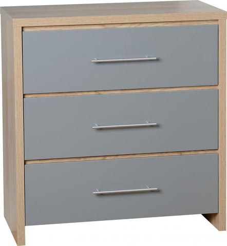 Seville 3 Drawers Chest in Grey High Gloss
