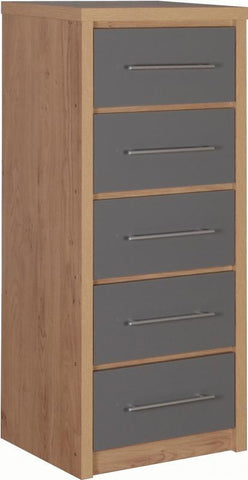 Seville 5 Drawers Slim Chest in Grey High Gloss
