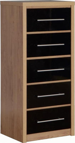 Seville 5 Drawers Slim Chest in Black High Gloss