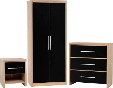 Seville Black High Gloss 3 Piece Bedroom Set