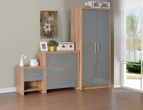 Seville Grey High Gloss 3 Piece Bedroom Set