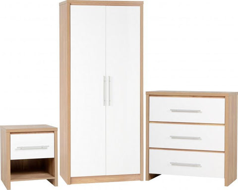 Seville White High Gloss 3 Piece Bedroom Set