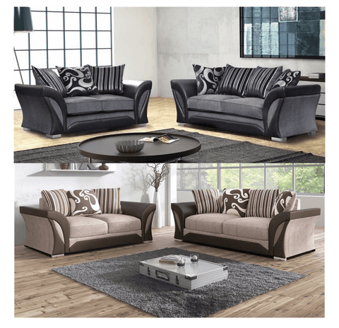 Clara Designer 3+2 Fabric Sofa Set - Grey & Brown