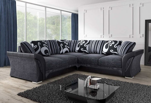 Clara Designer Fabric Corner Sofa Set - Grey/Black