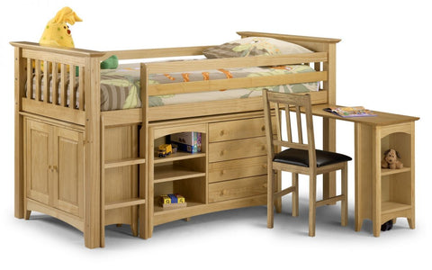 Barcelona Solid Pine Sleep Station Bed & Storage - Right/Left Hand Ladder