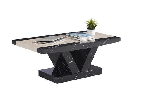 Marble Effect High Gloss Coffee Table - Black & Brown