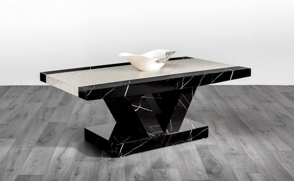 Marble Effect High Gloss Coffee Table Black Amp Brown