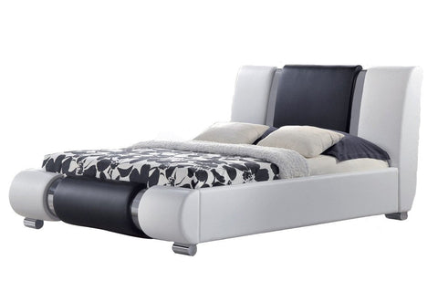 Luxury Designer Bed in White & Black Faux Leather