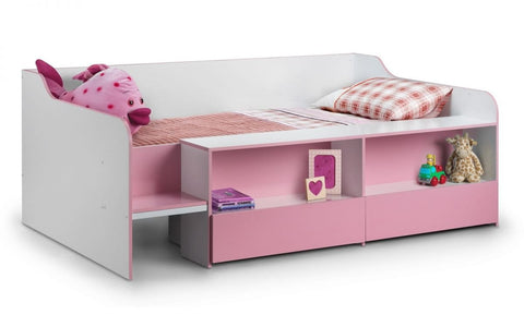 Stella Low Sleeper Kids Bed - White/Pink Finish or White/Blue Finish