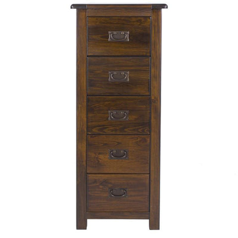 Boston Dark Wood Tall 5 Drawer Chest