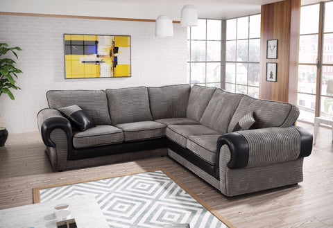 Tango Jumbo Cord 2C2 Symmetrical Corner Sofa Suite - Black/Grey or Beige/Brown