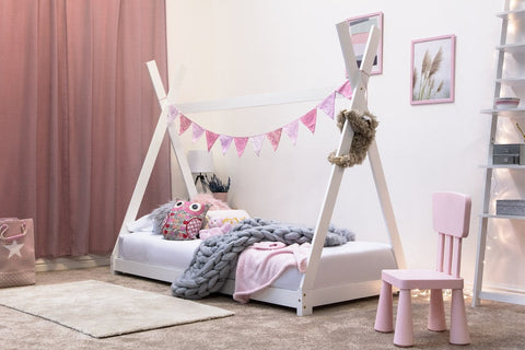 Tent Style Solid Pine Kids Wooden Single Bed Frame