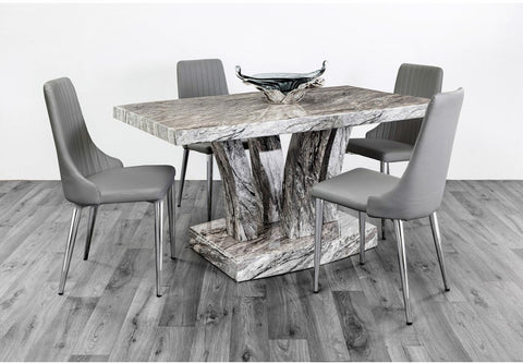 Luxury Marble Effect Stone Grey High Gloss Dining Table