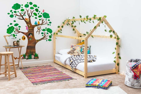 Solid Pine Treehouse Style Kids Wooden Single Bed Frame